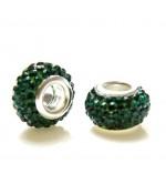 Perles shamballa rondes soucoupes strass cristal ( 5 pièces ) ( 14 mm de diamètre ) - Emeraude