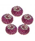 Perles shamballa rondes soucoupes strass cristal ( 5 pièces ) ( 14 mm de diamètre ) - Fuchsia