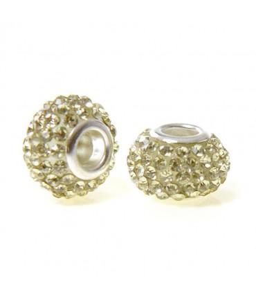 Perles shamballa rondes soucoupes strass cristal ( 5 pièces ) ( 14 mm de diamètre ) - Jaune clair