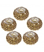 Perles shamballa rondes soucoupes strass cristal ( 5 pièces ) ( 14 mm de diamètre ) - Topaze fumé