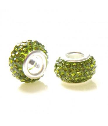 Perles shamballa rondes soucoupes strass cristal ( 5 pièces ) ( 14 mm de diamètre ) - Olive