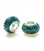 Perles shamballa rondes soucoupes strass cristal ( 5 pièces ) ( 14 mm de diamètre ) - Zircon bleu