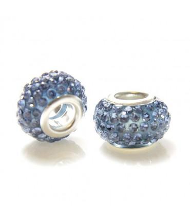 Perles shamballa rondes soucoupes strass cristal ( 5 pièces ) ( 14 mm de diamètre ) - Saphir clair