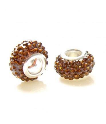 Perles shamballa rondes soucoupes strass cristal ( 5 pièces ) ( 14 mm de diamètre ) - Marron