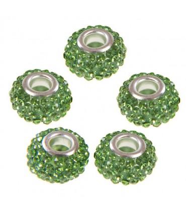Perles shamballa rondes soucoupes strass cristal ( 5 pièces ) ( 14 mm de diamètre ) - Vert clair