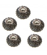 Perles shamballa rondes soucoupes strass cristal ( 5 pièces ) ( 14 mm de diamètre ) - Gris foncé