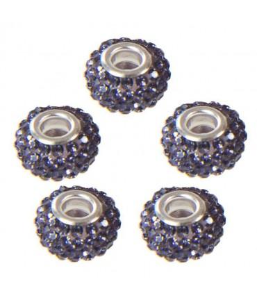 Perles shamballa rondes soucoupes strass cristal ( 5 pièces ) ( 14 mm de diamètre ) - Lavande