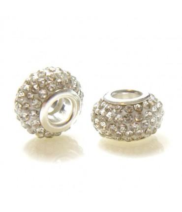 Perles shamballa rondes soucoupes strass cristal ( 5 pièces ) ( 14 mm de diamètre ) - Blanc