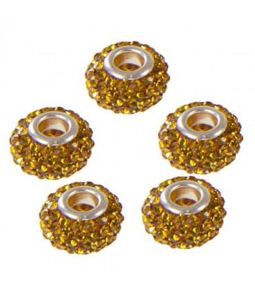 Perles shamballa rondes soucoupes strass cristal ( 5 pièces ) ( 14 mm de diamètre ) - Doré