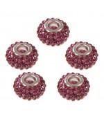Perles shamballa rondes soucoupes strass cristal ( 5 pièces ) ( 14 mm de diamètre ) - Rose