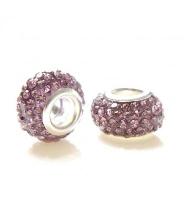 Perles shamballa rondes soucoupes strass cristal ( 5 pièces ) ( 14 mm de diamètre ) - Parme