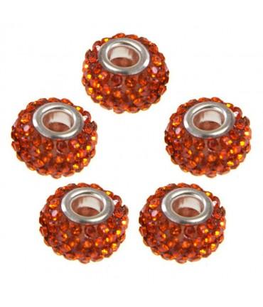 Perles shamballa rondes soucoupes strass cristal ( 5 pièces ) ( 14 mm de diamètre ) - Orange