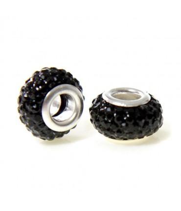 Perles shamballa rondes soucoupes strass cristal ( 5 pièces ) ( 14 mm de diamètre ) - Noir