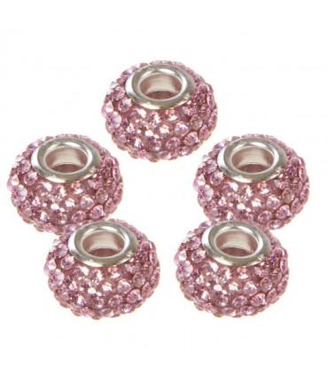 Perles shamballa rondes soucoupes strass cristal ( 5 pièces ) ( 14 mm de diamètre ) - Rose clair