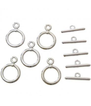 Fermoir t toggle Tibétain métal 14 mm ( 10 pièces ) - Argenté