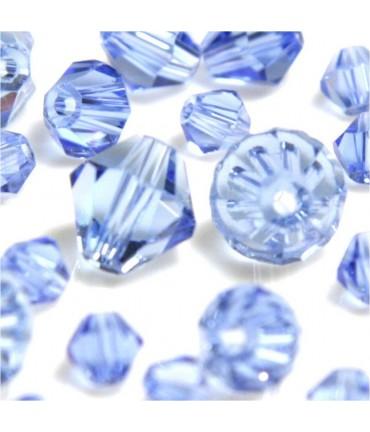 Perles cristal cz bicones en verre quartz de Bohême ( 120 pcs ) ( 4 mm de diamètre ) - Bleu clair