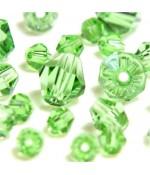 Perles cristal cz bicones en verre quartz de Bohême ( 120 pcs ) ( 4 mm de diamètre ) - Vert clair