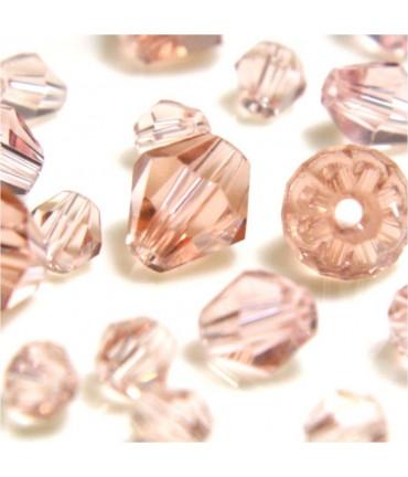 Perles cristal cz bicones en verre quartz de Bohême ( 120 pcs ) ( 4 mm de diamètre ) - Rose