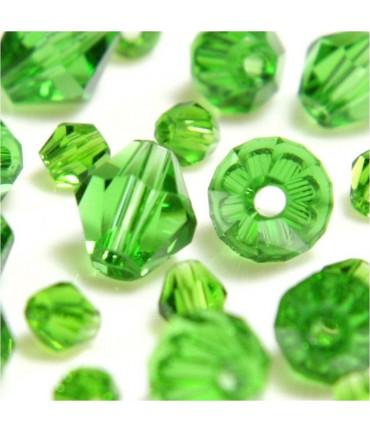 Perles cristal cz bicones en verre quartz de Bohême ( 120 pcs ) ( 4 mm de diamètre ) - Vert
