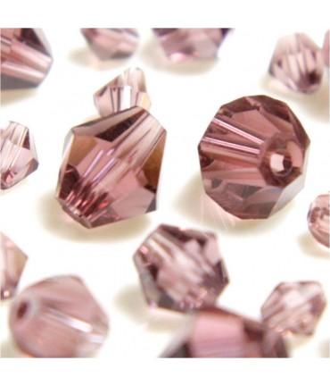 Perles cristal cz bicones en verre quartz de Bohême ( 120 pcs ) ( 4 mm de diamètre ) - Mauve