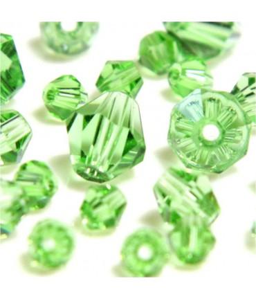 Perles cristal cz bicones en verre quartz de Bohême ( 50 pcs ) ( 6 mm de diamètre ) - Vert clair