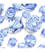 Perles cristal cz bicones en verre quartz de Bohême ( 40 pcs ) ( 8 mm de diamètre ) - Bleu clair