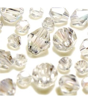 Perles cristal cz bicones en verre quartz de Bohême ( 40 pcs ) ( 8 mm de diamètre ) - Cristal