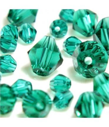 Perles cristal cz bicones en verre quartz de Bohême ( 40 pcs ) ( 8 mm de diamètre ) - Emeraude