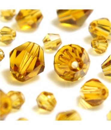 Perles cristal cz bicones en verre quartz de Bohême ( 40 pcs ) ( 8 mm de diamètre ) - Topaze fumé