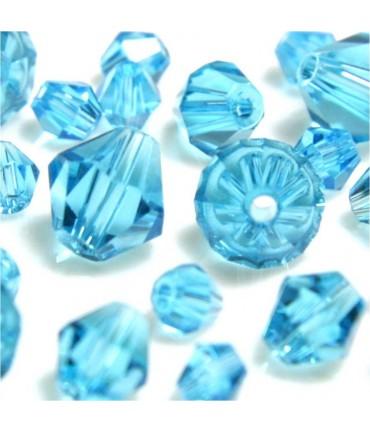 Perles cristal cz bicones en verre quartz de Bohême ( 40 pcs ) ( 8 mm de diamètre ) - Lagon