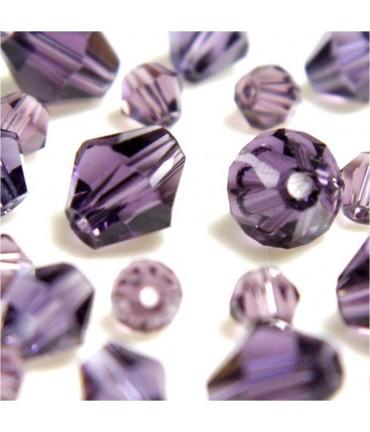 Perles cristal cz bicones en verre quartz de Bohême ( 40 pcs ) ( 8 mm de diamètre ) - Lavande