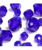 Perles cristal cz bicones en verre quartz de Bohême ( 40 pcs ) ( 8 mm de diamètre ) - Bleu royal