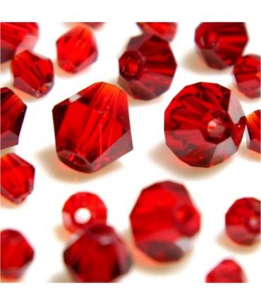 Perles cristal cz bicones en verre quartz de Bohême ( 40 pcs ) ( 8 mm de diamètre ) - Rouge