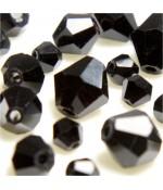 Perles cristal cz bicones en verre quartz de Bohême ( 40 pcs ) ( 8 mm de diamètre ) - Noir