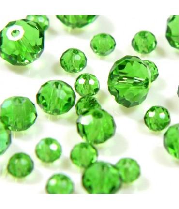 Perles cristal cz à facettes en verre quartz de Bohème ( 100 pcs ) ( 6 mm de diamètre ) - Vert