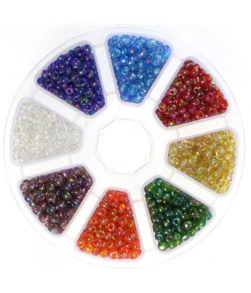 Boite de perles de rocaille en verre couleurs translucides  (4 mm)