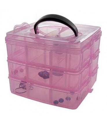Boite de rangement plastique bijoux apprêts 18 compartiments - Rose
