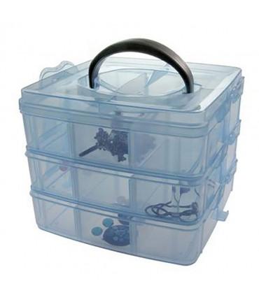 Boite de rangement plastique bijoux apprêts 18 compartiments - Bleu