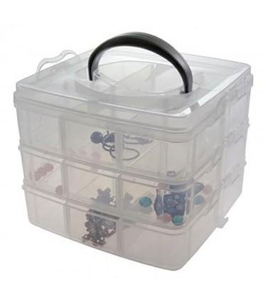 Boite de rangement plastique bijoux apprêts 18 compartiments - Translucide