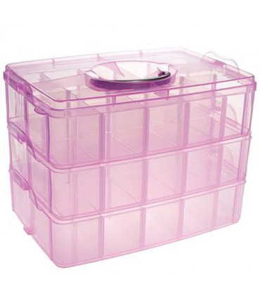 Boite de rangement plastique bijoux apprêts 30 compartiments - Rose