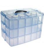 Boite de rangement plastique bijoux apprêts 30 compartiments - Bleu