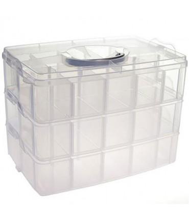 Boite de rangement plastique bijoux apprêts 30 compartiments - Translucide