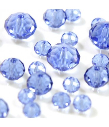 Perles cristal cz à facettes en verre quartz de Bohème ( 70 pcs ) ( 8 mm de diamètre ) - Bleu clair