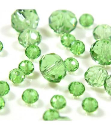 Perles cristal cz à facettes en verre quartz de Bohème ( 70 pcs ) ( 8 mm de diamètre ) - Vert clair