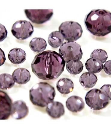 Perles cristal cz à facettes en verre quartz de Bohème ( 70 pcs ) ( 8 mm de diamètre ) - Lavande