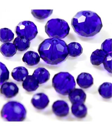Perles cristal cz à facettes en verre quartz de Bohème ( 70 pcs ) ( 8 mm de diamètre ) - Bleu royal