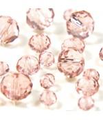 Perles cristal cz à facettes en verre quartz de Bohème ( 70 pcs ) ( 8 mm de diamètre ) - Rose