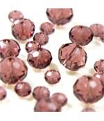 Perles cristal cz à facettes en verre quartz de Bohème ( 70 pcs ) ( 8 mm de diamètre ) - Mauve