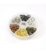 Boîte de 390 anneaux de jonction 10x1mm en laiton - Multicolore