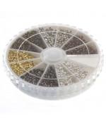 Boite de perles à écraser de plusieurs couleurs (3000 pièces) ( 2 Mm De Diamètre )